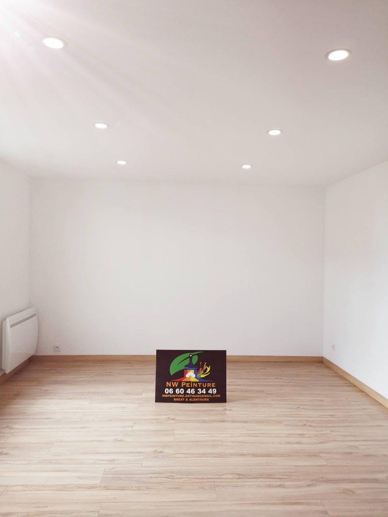 plafond suspendu peinture sol parquet